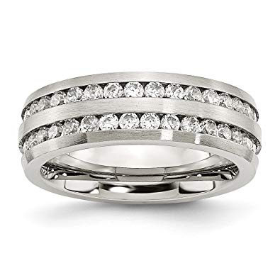 Stainless Steel Double Row CZ Ring