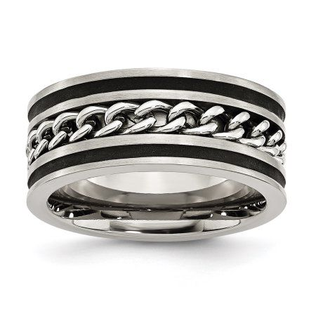 Stainless Steel Chain and Black-plated Brushed and Polished Band