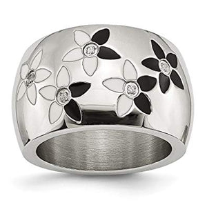 Stainless Steel Black and White Enamel Flowers with CZ Ring