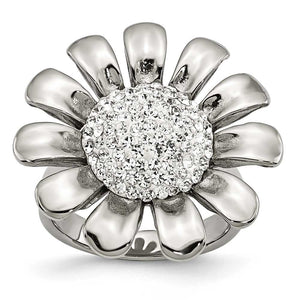 Stainless Steel Clear CZ Flower Ring
