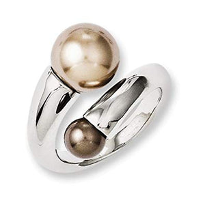 Stainless Steel Champagne and Brown Pearl Ring