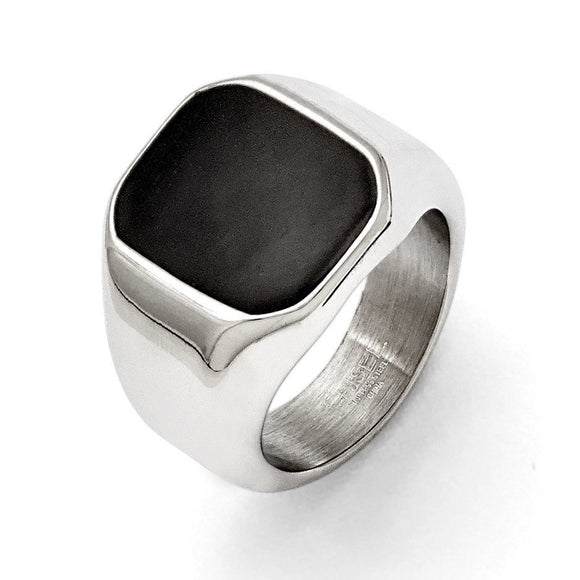 Stainless Steel Polished Enameled Ring