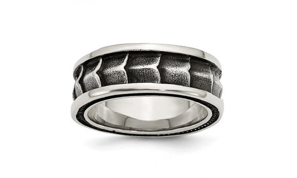 Stainless Steel Polished and Antiqued Band