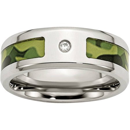 Stainless Steel Polished with CZ Printed Green Camo Under Band