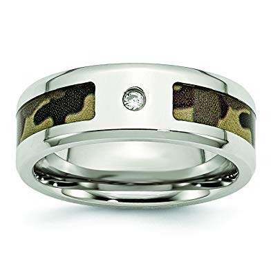 Stainless Steel Polished with CZ Printed Brown Camo Under Band