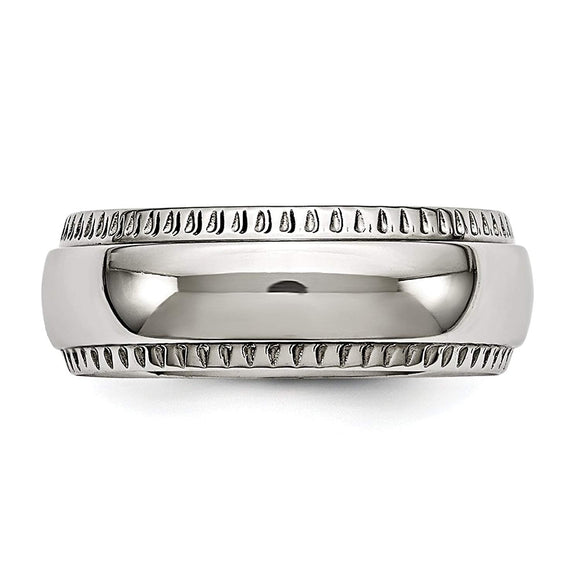 Stainless Steel Polished Textured Edged Ring