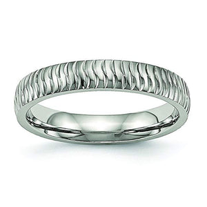 Stainless Steel Polished Textured Ring
