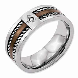 Stainless Steel Chocolate IP Plated Diamond 8mm Polished Band
