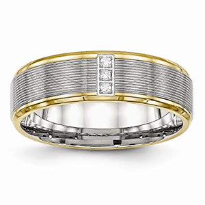 Stainless Steel Polished Yellow IP CZ Grooved Comfort Back Ring