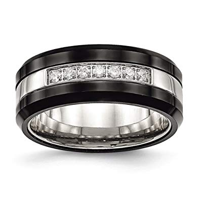 Stainless Steel Polished Black Ceramic CZ Beveled Edge Ring
