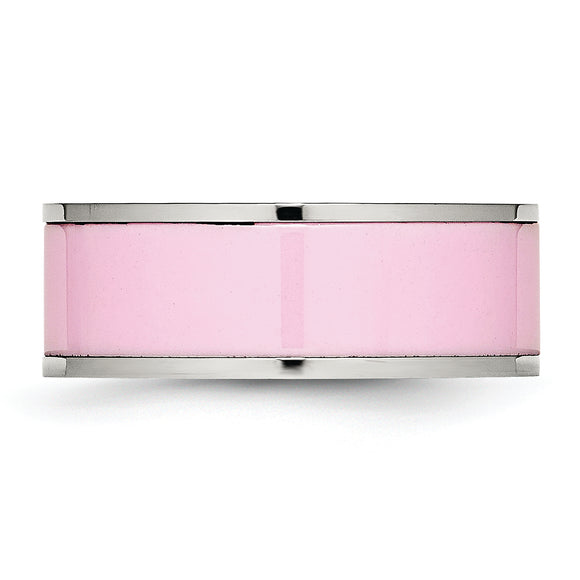 Stainless Steel Polished Pink Ceramic Ring