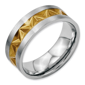 Stainless Steel Grooved Gold-plated 8mm Brushed Band