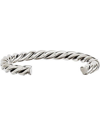 Stainless Steel Twisted Polished Cuff Bangle