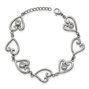 Stainless Steel Polished CZ heart with 1in ext. Bracelet