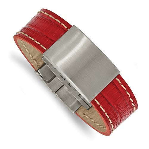 Stainless Steel Brushed Red Leather ID Bracelet