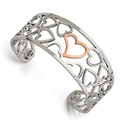 Stainless Steel Polished and Rose Gold-plated Hearts Cuff Bangle