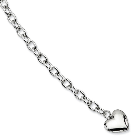 Stainless Steel Polished Open Link Heart Bracelet