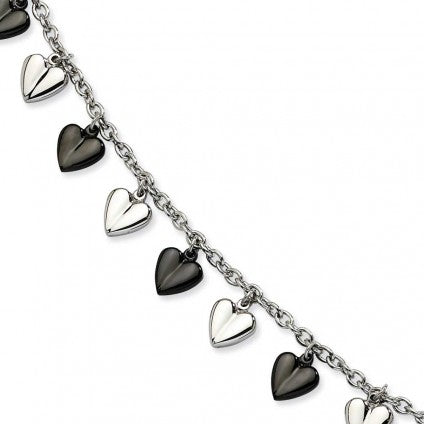 Stainless Steel Black Polished Hearts Bracelet