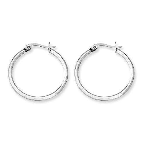 Stainless Steel 27mm Diameter Hoop Earrings