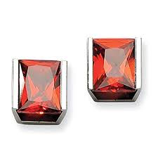Red Cz Post Earrings