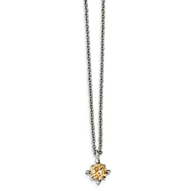 Stainless Steel Champagne CZ Pendant Necklace