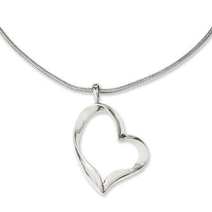 Stainless Steel Polished Fancy Heart Necklace