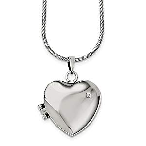 Stainless Steel Polished Heart with CZ Locket Necklace