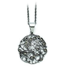 Stainless Steel Textured Circle Necklace with Crystals