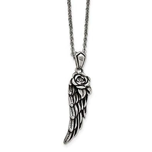 Stainless Steel Antiqued and Polished with Crystal Wing Necklace