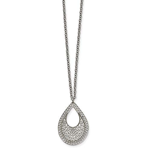 Stainless Steel Polished Textured Cut-out Design Necklace
