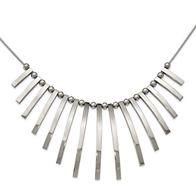 Stainless Steel Polished Bars and Beads Necklace