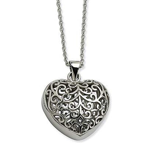 Stainless Steel Filigree Puffed Heart Pendant Necklace