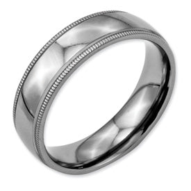 Titanium Grooved and Beaded 6mm Polished Band