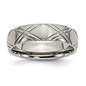 Titanium Criss-cross Design Brushed and Polished Band