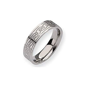 Titanium Celtic Knot Brushed and Polished Band