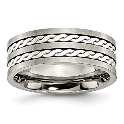 Titanium Sterling Silver Inlay Brushed Antiqued Band