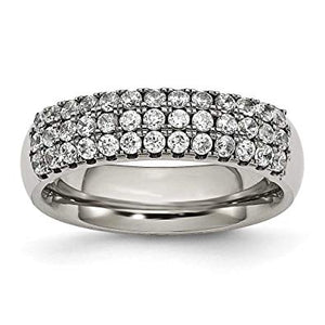 Titanium Multi-row Half CZ Ring