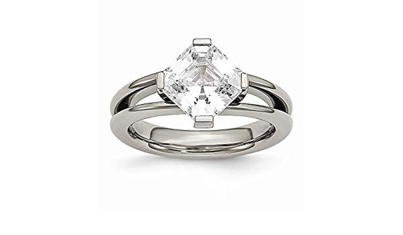 Cushion Cut CZ Center Ring
