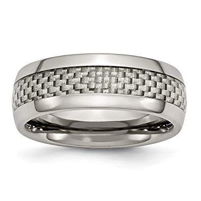 Titanium and Grey Carbon Fiber Polished Band