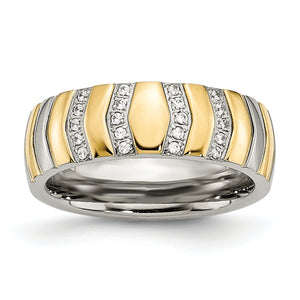 Yellow IP-plated CZ Ring