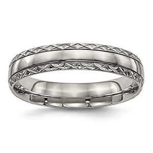 Titanium Polished Grooved Criss Cross Design Ring