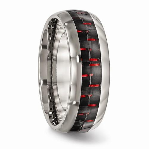 Titanium Polished Black/Red Carbon Fiber Inlay Ring