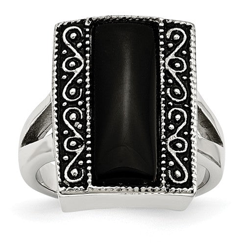 Antiqued Rectangular Ring with Black Onyx