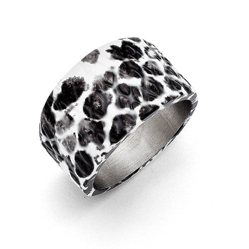 Polished Black and White Textured Ring
