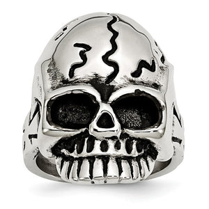 Stainless Steel Polished and Antiqued Skull Ring