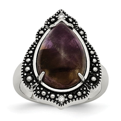 Polished/Antiqued Amethyst Teardrop Polished Ring