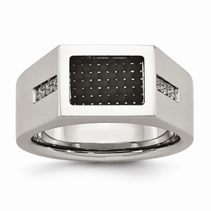 Stainless Steel Polished Black Carbon Fiber Inlay with CZ Ring