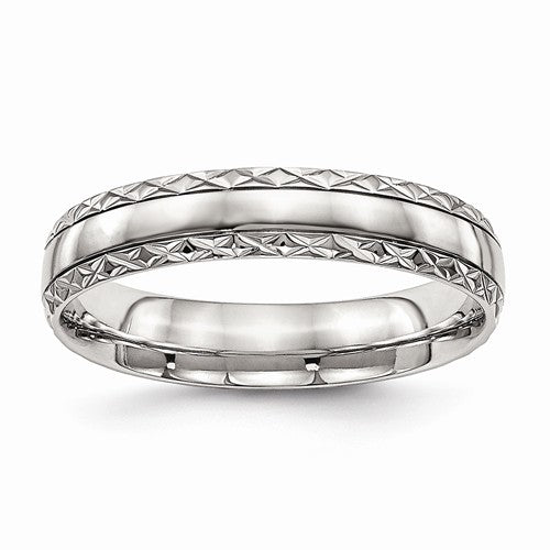 Stainless Steel Polished Grooved Criss Cross Design Ring