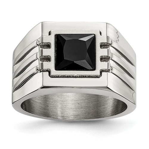 Stainless Steel Brushed and Polished with Black CZ Ring