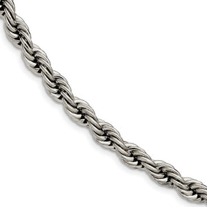 Stainless Steel Polished 7mm Rope Bracelet